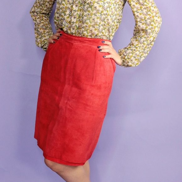 Vintage Dresses & Skirts - Vintage Suede Rust Pencil Skirt